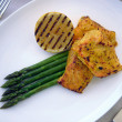 Grilled salmon with asparagus - Stock Photo