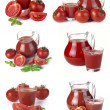 Set jug, glass of tomato juice and fruits — Stock Photo