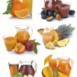 Set jug, glass juice and fruits — Stock Photo