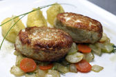 Pike cutlets with mashed potatoes — Stock Photo
