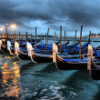 Gondolas in Venice at night — Stock Photo