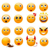 Set of orange smiles — Stock Vector