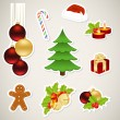 Stock Vector: Paper christmas elements