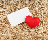 Red heart and label — Stock Photo
