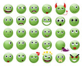 Set of green emoticons. — Stock Vector