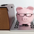 Pig bank and brief case — Stock Photo