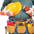 Mature contractor and instruments — Stock Photo