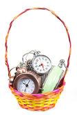 Alarm-clock in the basket — Stock Photo
