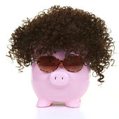 Money-box and wig — Stock Photo
