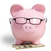 Pig bank and dollars — Photo