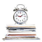 Alarm-clock and documents — Stock Photo