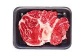 Raw beef meat in plastic tray — Zdjęcie stockowe