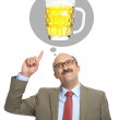 The man dreams of a glass with beer — Stock Photo #50162365