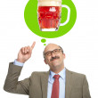 The man dreams of a glass with beer — Stock Photo #50162395