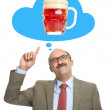 The man dreams of a glass with beer — Stock Photo #50162419