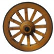 Antique Cart Wheel made of wood and iron-lined, isolated - Stock Photo
