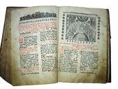 Öppnade gammal bok med text och illustration över vita — Stockfoto