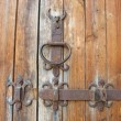 Ancient wooden door rustic metallic detail — Stock Photo