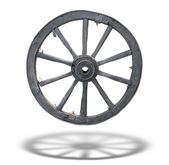 Antique Cart Wheel made of wood and iron-lined, isolated, with s — Stock Photo