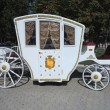 Vintage white luxury royal wedding carriage — Stock Photo