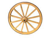 Kolo starožitný vozík vyrobený ze dřeva a železa lemované, izolované — Stock fotografie