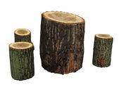 Meubles de jardin fait à partir des journaux en bois isolé — Photo