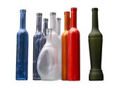 Set of unlabeled beautiful bottles isolated over white — Stock Photo
