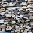 Stock Photo: Background of dry chopped firewood logs in pile