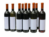 Set of unlabeled wine bottles isolated over white — Stock Photo
