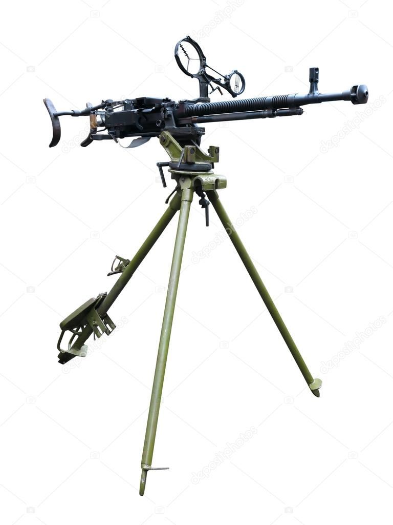 Old soviet army machine gun isolated on white background  Stock Photo #16056479