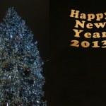arbre de Noël et du nouvel an sur fond noir — Photo