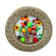 Harvest fruit and vegetables decorative panel over white — Stock Photo