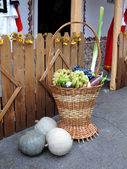 Fresh organic vegetables in a basket — Stok fotoğraf