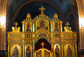 Gold ornated interior of orthodox church — Stock Photo