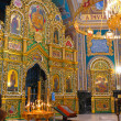Gold ornated interior of orthodox church — 图库照片
