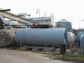 Old industrial chemical storage tanks — Stock Photo