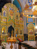 Gold ornated interior of orthodox church — Stock Photo