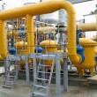 Stock Photo: Natural gas station with yellow pipes power plant
