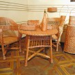 Vintage beautifull wicker furniture and oblects — Stock Photo