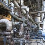 Electric motors driving industrial water pumps during repair — Stock Photo #26805247