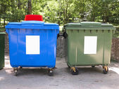 New colorful plastic garbage containers — Stock Photo