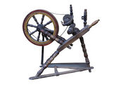 Old manual wooden spinning-wheel distaff isolated on white — Stock Photo