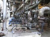 Electric motors driving industrial water pumps during repair — Stock Photo