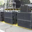 Stock Photo: Powerfull concerto audio speakers ,amplifiers ,spotlights, stage