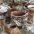 Colorful designed clay pottery ceramic vases — Stock Photo