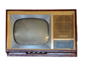 Front of vintage old television set over white — Stock Photo