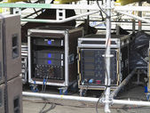Old powerfull concerto audio stage amplifiers, speakers and equi — Stock Photo