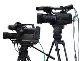 TV Professional studio digital video cameras isolated on white — Stock Photo