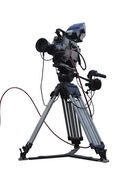 TV Professional studio digital video camera on tripod isolated o — Stock Photo
