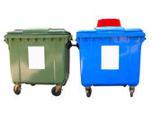 New colorful plastic garbage containers isolated over white — Stock Photo